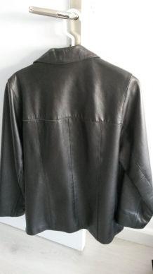 Veste cuir couleur noir longueur 70 cm
