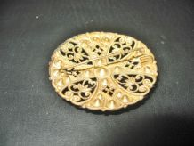 Ancienne Broche Ronde Czechoslovakia Arabesques et Strass
