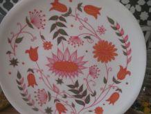 assiettes vintage fleuries en mélamine