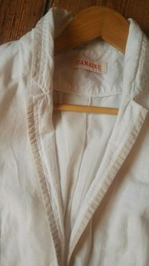 Veste/Blazer lin/coton blanc cassé, doublée, T. 36 Camaïeu