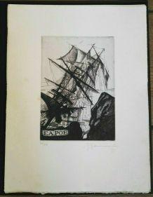 Gravure signée, numérotée, G. Giannini pour Edgar Poe