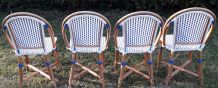 4 chaises bistrot terrasse parisienne en rotin