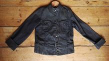 Blouson jean bleu/noir, col mao, T. 12 ans, Maje
