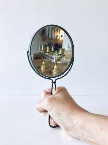 Miroir ancien à main, à accrocher ou à poser