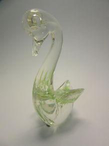 2 cygnes Murano verre blanc incrustés vert et blanc
