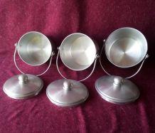 Suite de 3 gamelles en aluminium