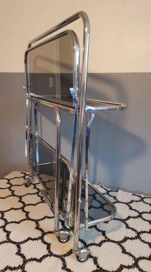 desserte bar sur roulettes métal chromé et verre fumé