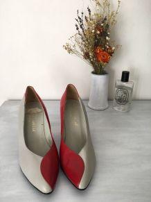 Escarpins vintage rouge et gris P37 quasi neufs (RARE !)