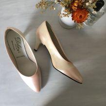 Escarpins beiges reflets rose vintage /jamais portes/ P36