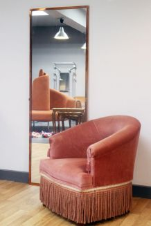 RARE - Fauteuil velours crapaud 1950 - TBE
