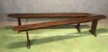 Paire de bancs de table de ferme en sapin - début XXème