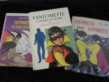 """lot 3 bibliothèque rose """"Fantômette"""" Georges Chaulet"""