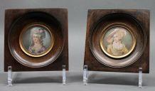 duo de portrait miniature d'élégantes du XIXème siècle
