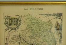 gravure ancienne encadrée . Carte ancienne encadrée du Cher