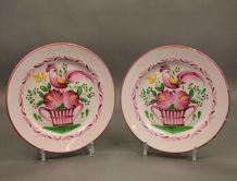 Paire d'assiettes en faïence coq XIXème siècle Luneville K&G