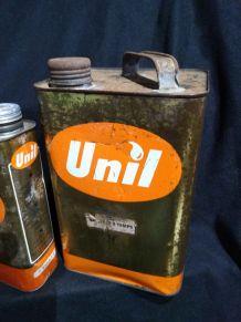 Lot de 3 bidons anciens huile UNIL