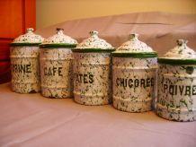 série de 5 pots à épices émaillés anciens enamelled spice ja
