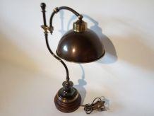 Lampe de bureau laiton et bois