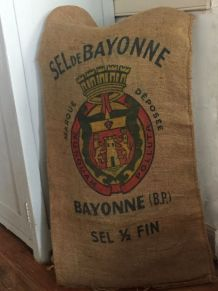 Sac en jute, coussin, sel de Bayonne
