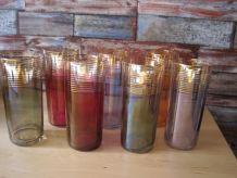 Série De 7 verres a orangeade vintage 1950/1960 anciens