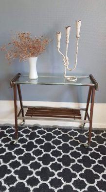 desserte vintage plateau verre et structure bois et métal
