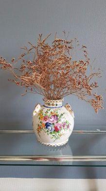 vase pot ancien décor floral des années 50
