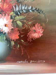 Tableau peinture ancienne, huile sur toile, nature morte