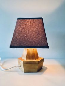 Petite lampe vintage hexagonale en bois