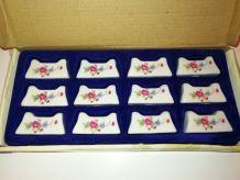 12 porte-couteaux fleuris en porcelaine véritable Vintage