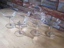 6 verres anciens Objet vintage France coupe champagne