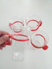 4 tasses design verre et plastique bodum