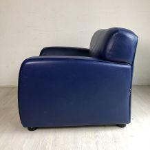 Fauteuil Steiner vintage 80's en cuir bleu