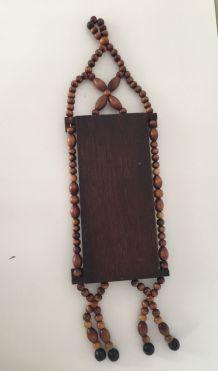 Miroir bohème vintage en perles et bois H49XL14