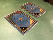 Paire de tapis descentes de lit turcs, en laine - fait main