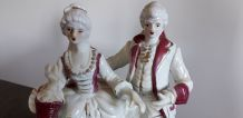 Ancien couple de marquis et marquise en porcelaine