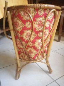 panière en osier avec son tissu d'époque 1970 pour tricot ou