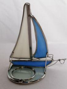 Bougeoir en vitrail  bateau