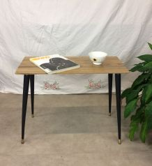 Table basse chêne massif, pied bois laiton