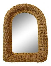 Miroir osier années 70 de 28 cm x 23 cm