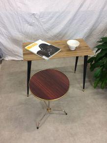 Guéridon table basse tripode formica
