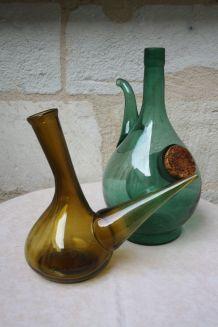 Ensemble de 2 bouteilles en verre décoratives