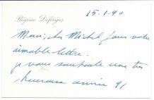 Carte autographe à en-tête 16x10 signée Régine Deforges