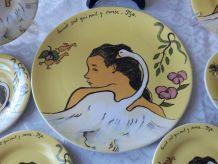 """Rare, Service à gâteaux GIEN  Décor """" Gauguin """""""