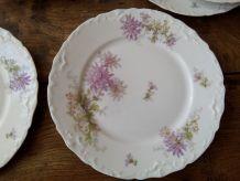 """9 assiettes à dessert en porcelaine de Limoges. Décor """" Dahl"""