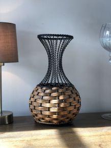 Vase en osier et métal - Vintage