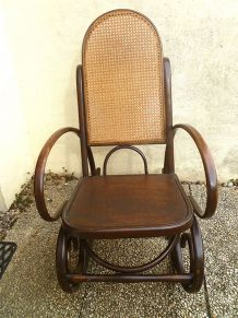 Rocking chair ancien bois courbé et cannage