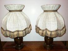 Paire de lampes de chevet en bois vintage 80's