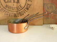 """Lot de 5 casseroles """" Fabrication française """" en cuivre"""