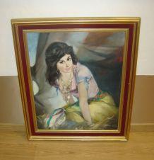 huile sur toile portrait de gitane