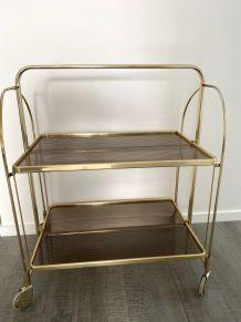 Desserte métal doré plateaux plexi  sur roulettes vintage